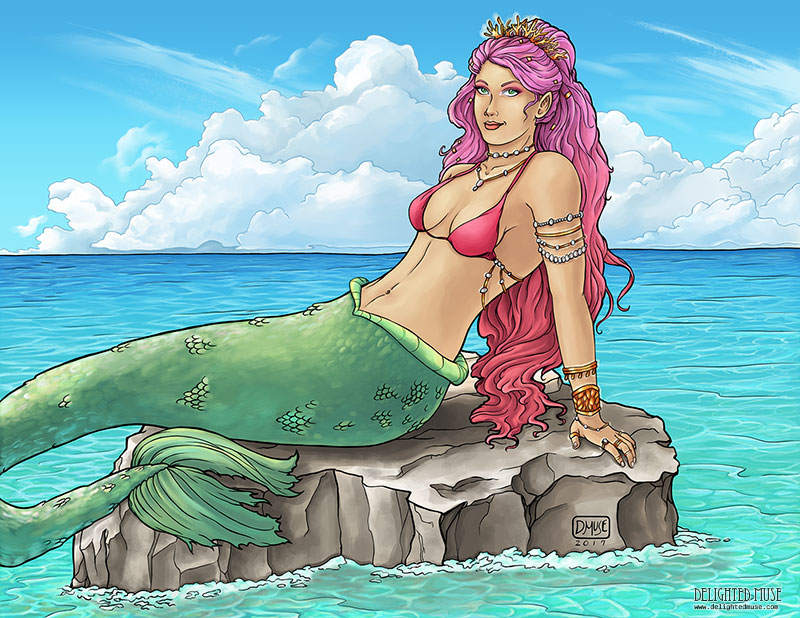 Mermaid Sunning Herself digital painting