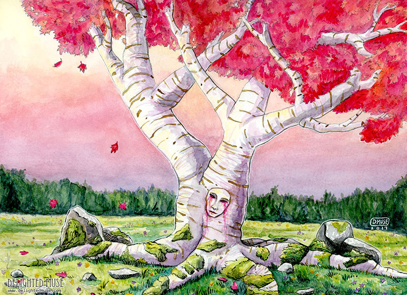 The Last Heart Tree watercolor painting