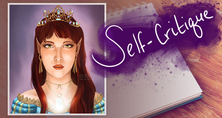 Self-critique banner collage with digital painting For the Love of Gold