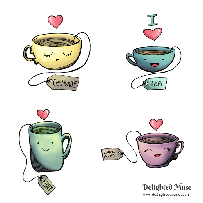 four cute teacup stickers