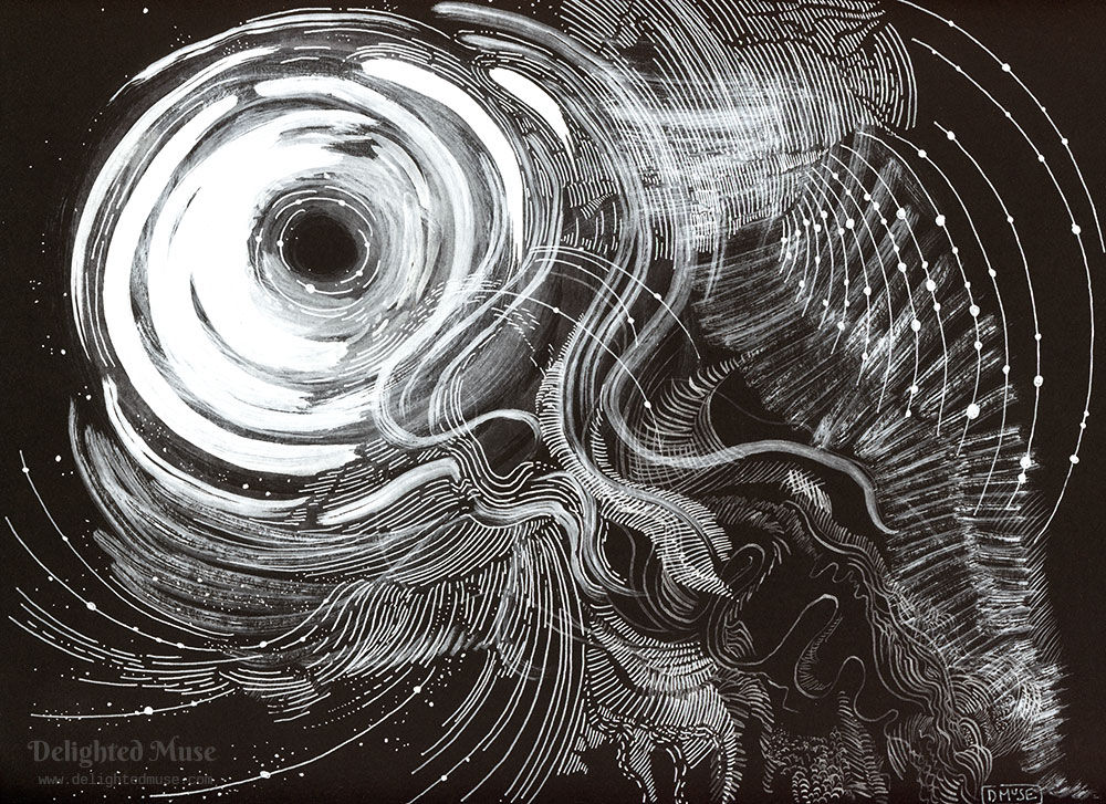 A white ink drawing on black paper of swirls and abstract waves