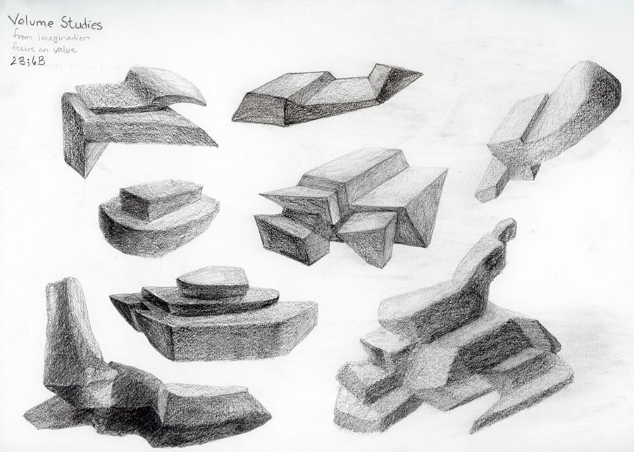Volume studies of geometric forms with a focus on value blocking 2B 6B pencil