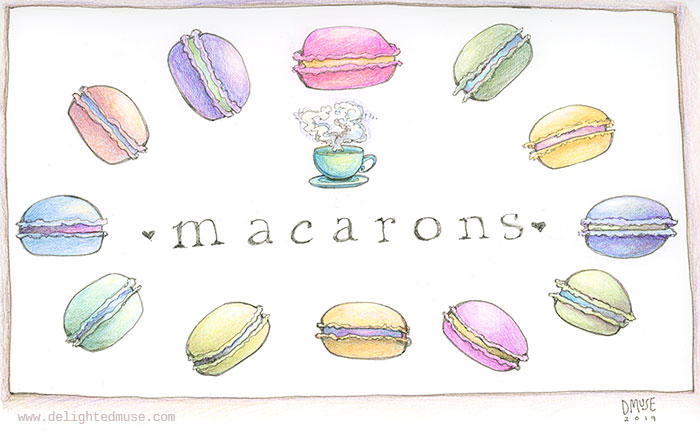 A sketch of pastel macarons with a teacup and the word macarons