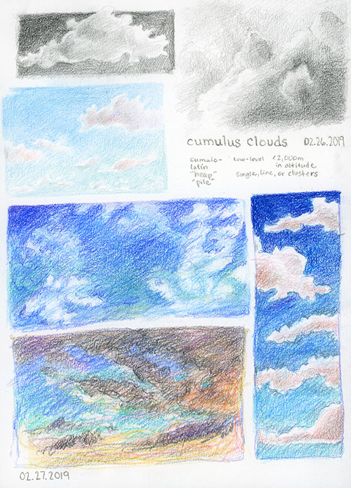 Sketches of clouds in pencil and colored pencils