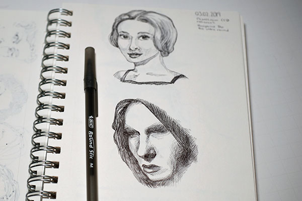 Sketch of two female portraits in ballpoint pen