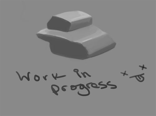 A grayscale digital painting form study with the words work in progress on top