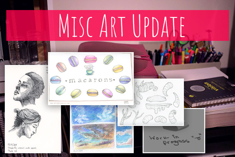 Collage of several sketches with the words Misc Art Update on top