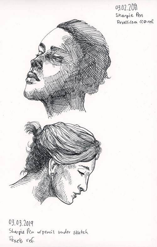 Two female portrait sketches in Sharpie pen