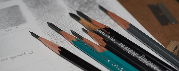 Close up of a razor-sharpened graphite pencils