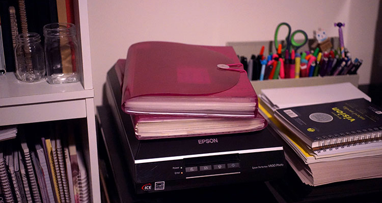 A photo of my scanner and art file folders