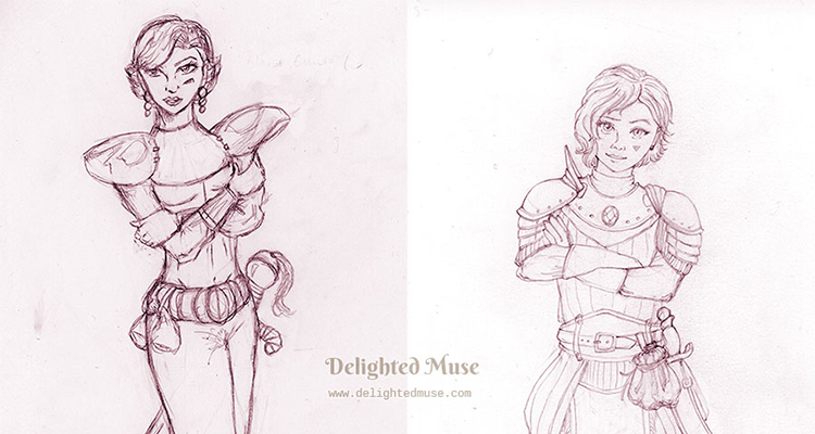A college of an older drawing of a female knight on the left and a newer version of the same character the right with the words Drawing Redux. The artwork is in pencil.