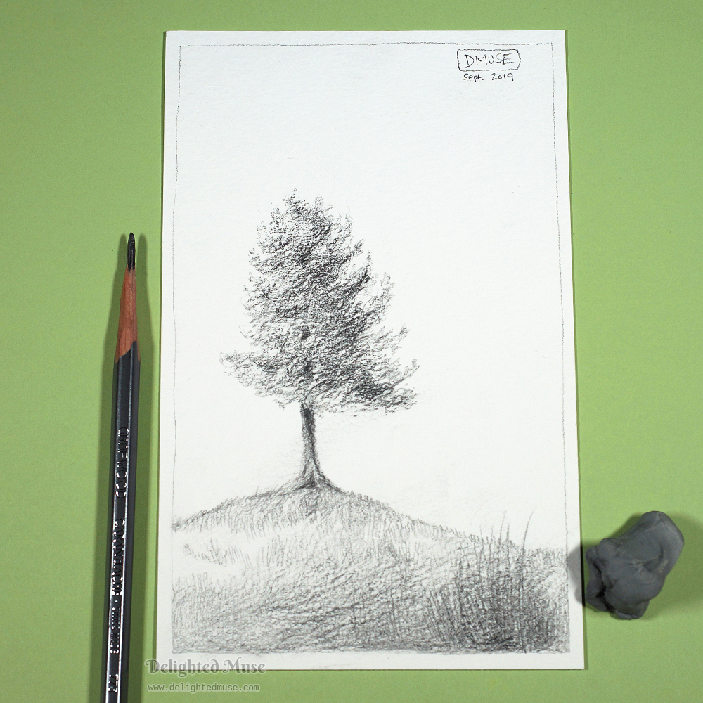 Drawing of a tree on watercolor paper in graphite