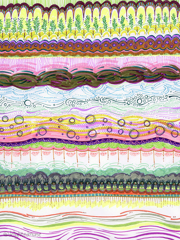 Drawing with various marks in pen and marker