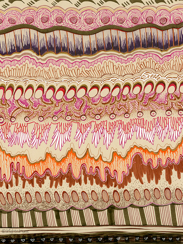 A drawing with various patterns in pen on multicolored paper