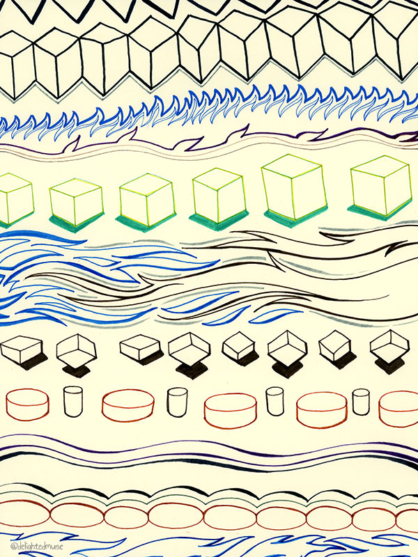 A drawing with various abstract patterns in pen