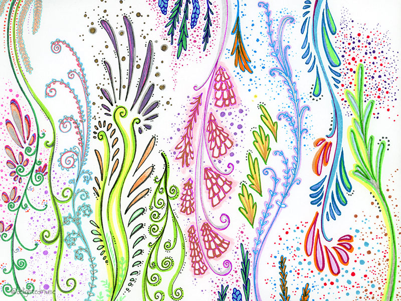 A drawing with various abstract patterns made with markers and fineliner pens.