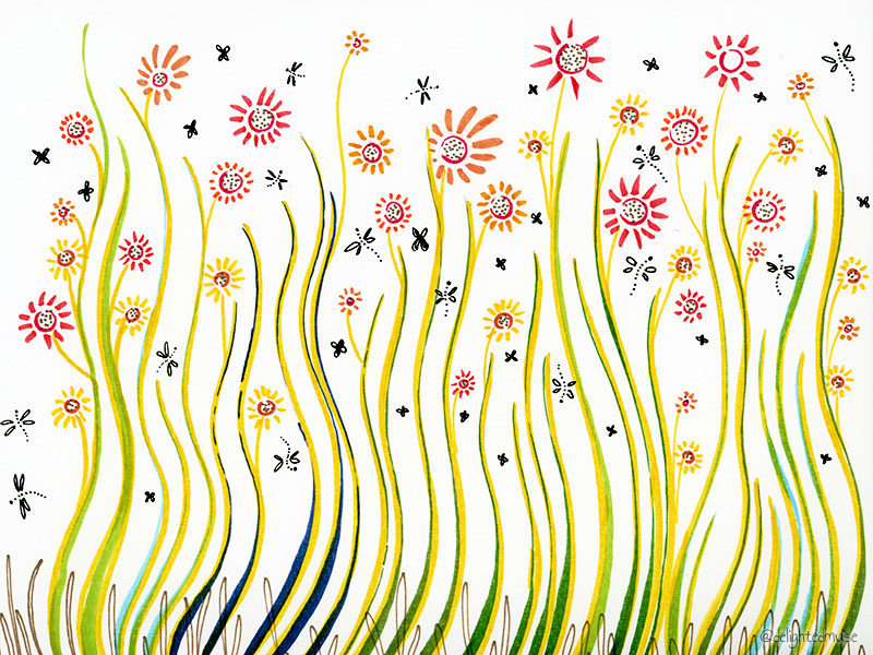 An abstract drawing of flowers and bugs, made with brush pens and fineliners.