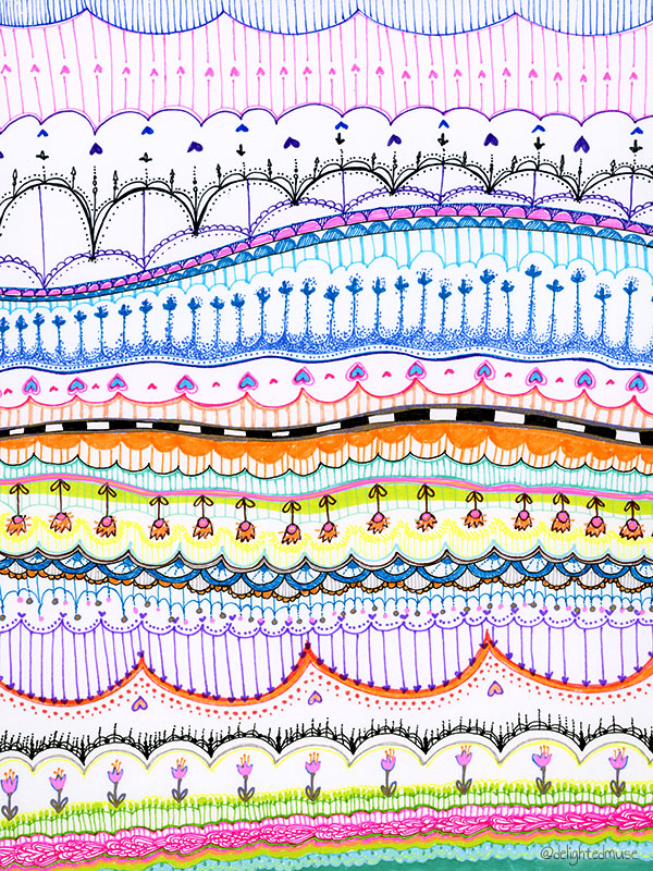 A drawing with various abstract patterns made with fine tip markers.