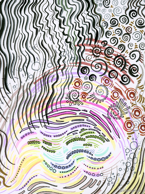 A drawing with various abstract patterns made with brush pens and fineliners.