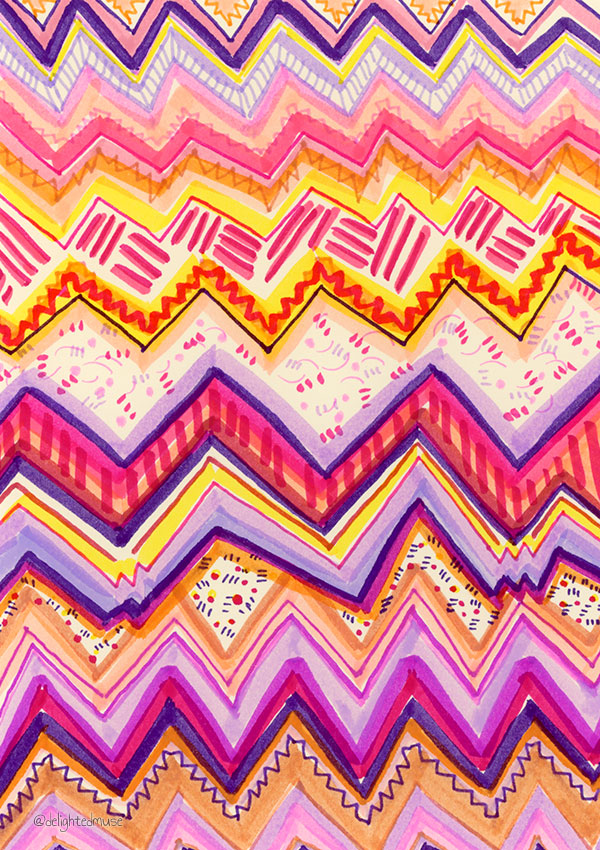 A drawing with various abstract patterns made with various markers