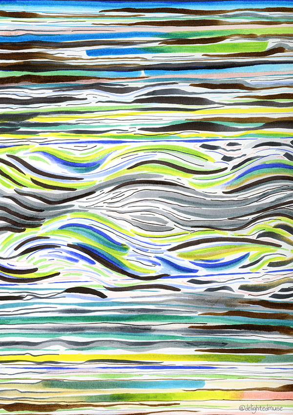 A drawing with various abstract patterns made with waterbased brush pens