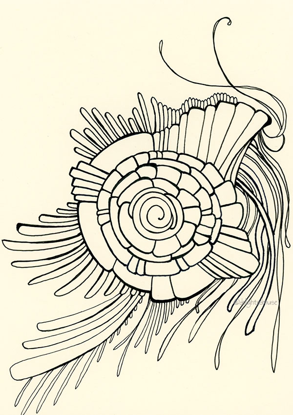 A drawing with various abstract pattern (kind of like a snail?) made with black fineliners