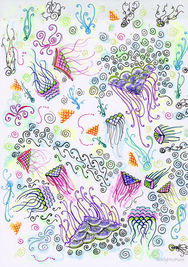 A drawing with various abstract patterns made with gel pens and highlighters