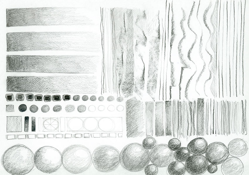 Pencil drawing of various marks, tone scales, and spheres