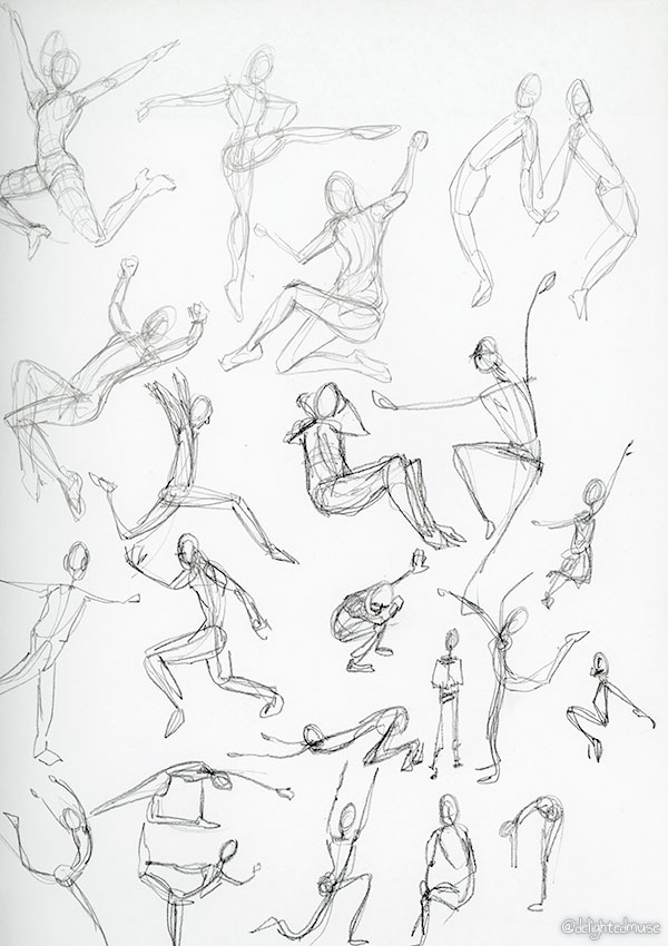 Gesture drawings of human figures in action poses, made with graphite pencils