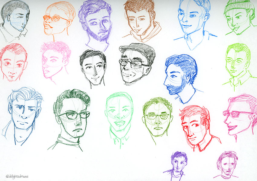 Drawings of masculine faces in colored pencil