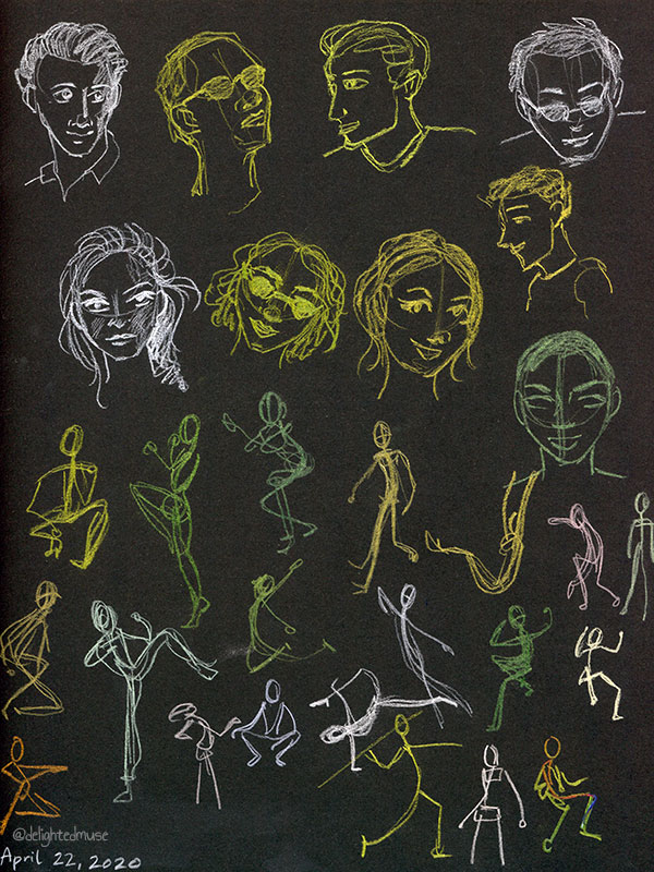 Drawings of faces and figures on black paper in colored pencil