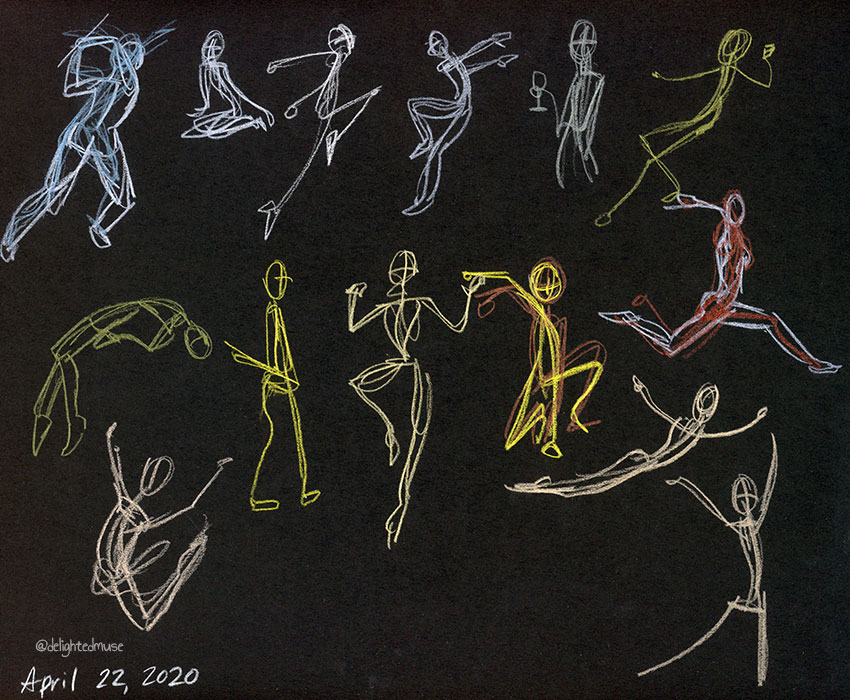 Gesture drawings of human figures on black paper in white, yellow, and red colored pencil