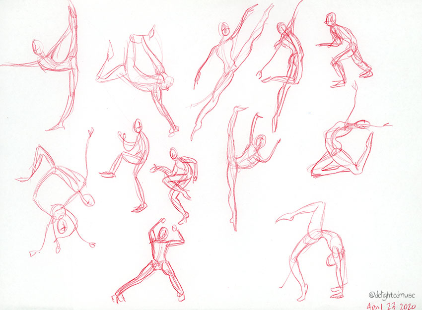 Rough gesture drawings of human figures in red colored pencil