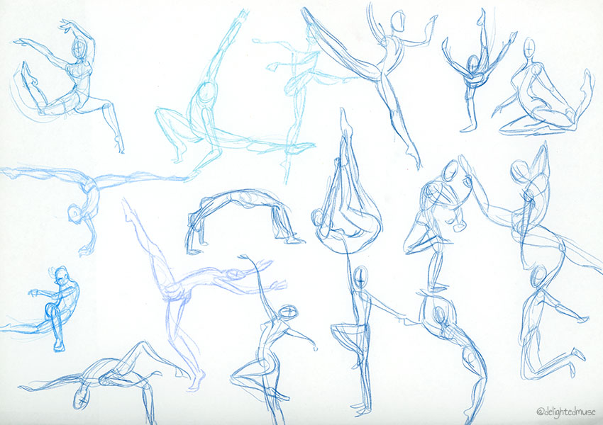 Rough gesture drawings of human figures in blue colored pencil