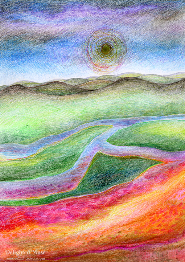 An intuitive colored pencil drawing reminiscent of hills and a river, where the sun in black and the river is turning lava-like
