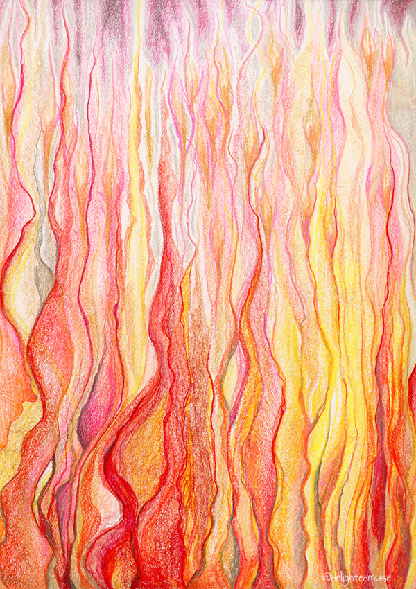 Abstract, fire-like wavy lines in prismacolor colored pencil