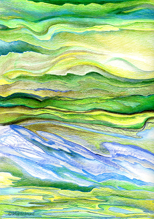 Green and blue abstract wavy lines in prismacolor colored pencil