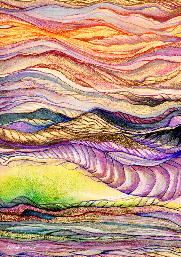 Multicolored abstract wavy lines in prismacolor colored pencil