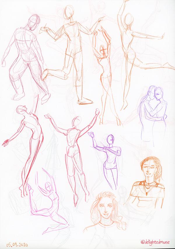 Simple gesture figure drawing sketches