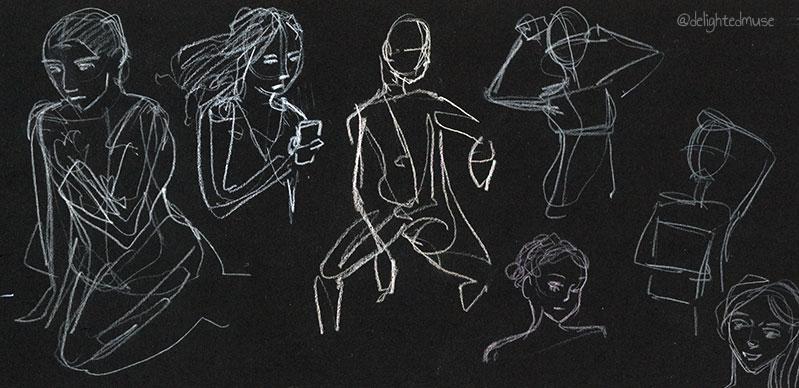 Gesture drawings in white pencil on black paper