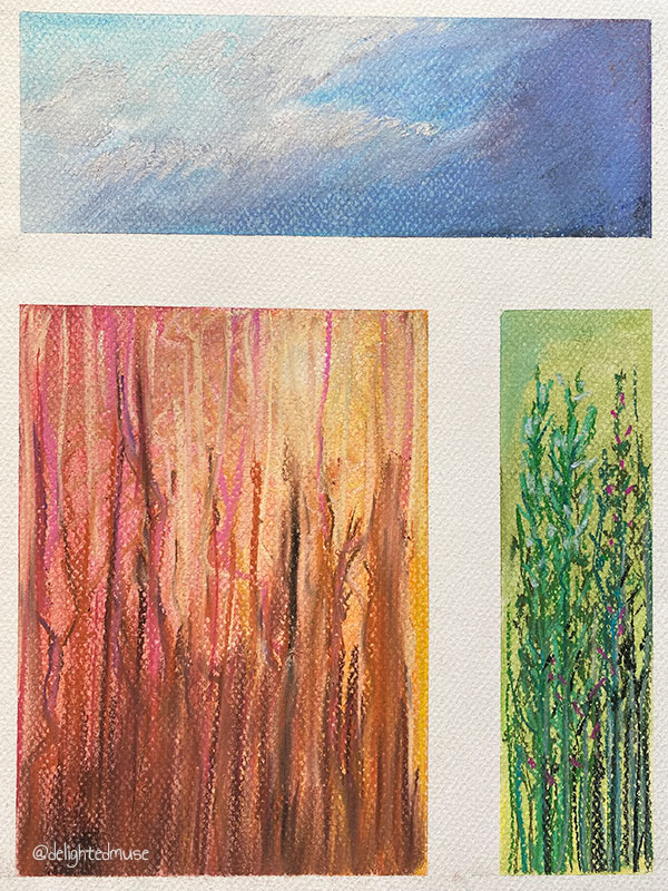 Three pastel drawings: clouds, abstract brown marks, and green flower stalks