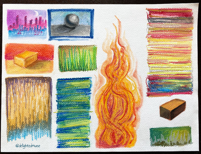 Small pastel drawings on paper, most abstract lines, some boxes, flames, a sphere, and a city skyline