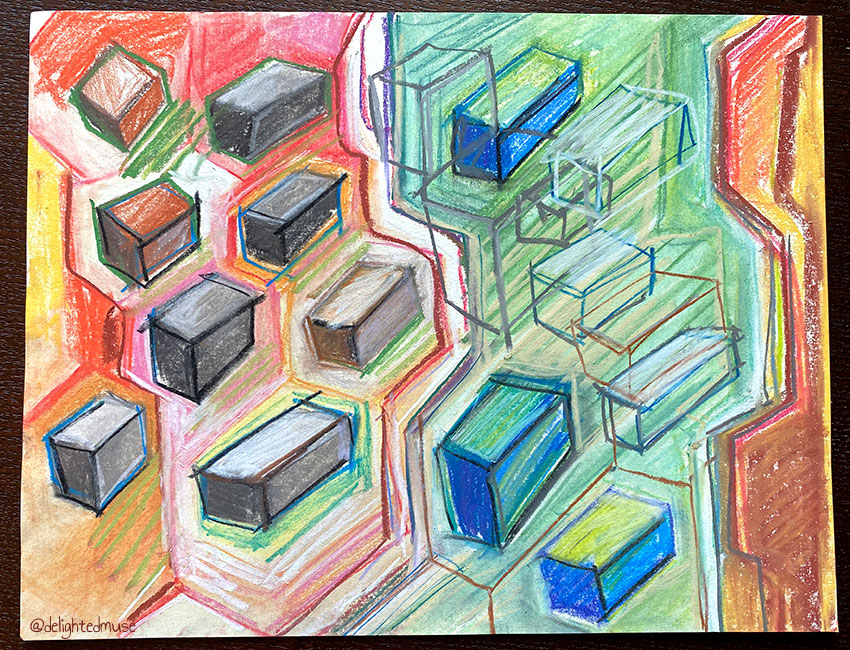 Geometric shapes in multicolored pastel