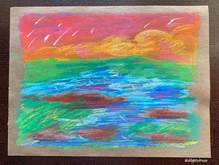 A pastel drawing of a red sky, orange clouds, and a stream on a green field, in loose gestural marks