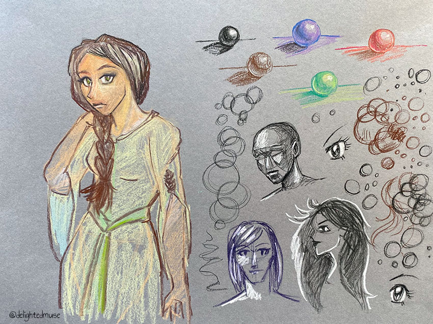 A page of drawings in pastel pencil, including a woman in a dress, spheres, and head drawings