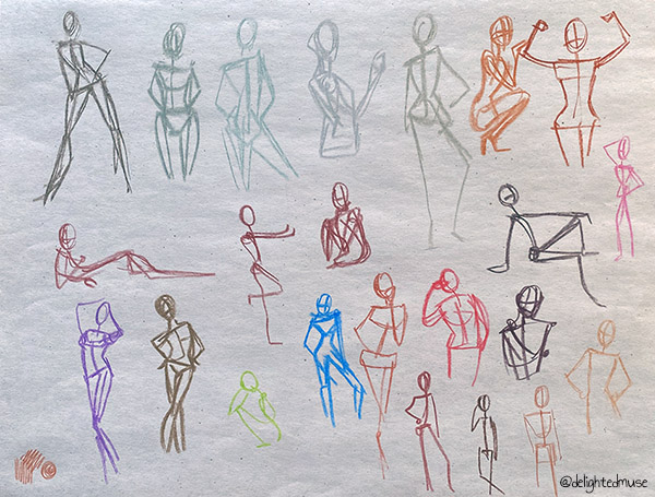 Gesture drawings of figures various poses, drawn in colored pastel on newsprint paper