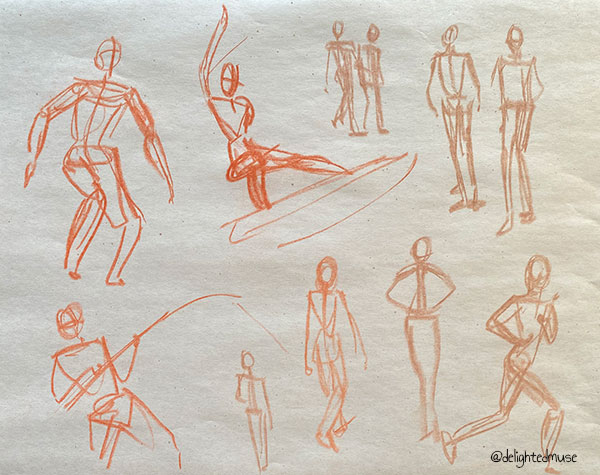 Gesture drawings of figures in action poses, drawn in sepia pastel on newsprint paper
