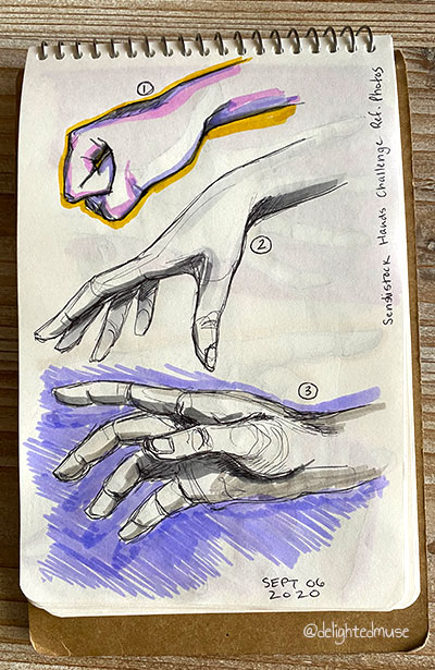 Sketchbook page of three hands drawin in ballpoint pen, with purple marker in one background and yellow and pink in another
