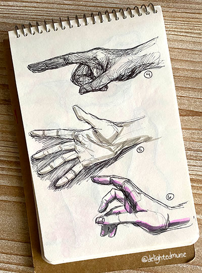Sketchbook of three hands in black ballpoint pen and grey and pink marker