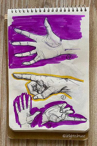 Four drawings of ballpoint pens, three with purple fushia backgrounds and one with a yellow background outline